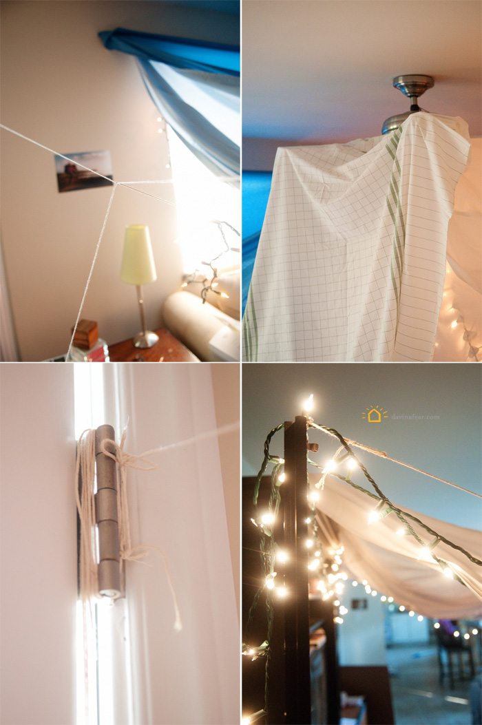 ropes and strings and safety pins holding up gigantic blanket fort