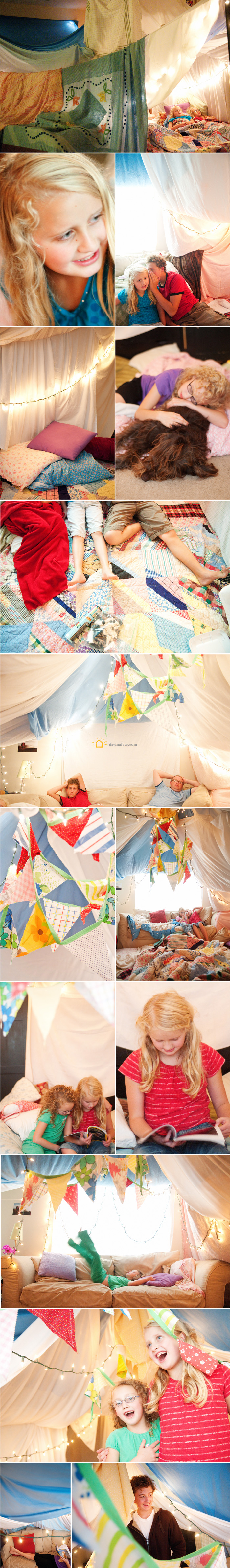 girls playing in huge blanket fort and laying on lots of pillows and reading books